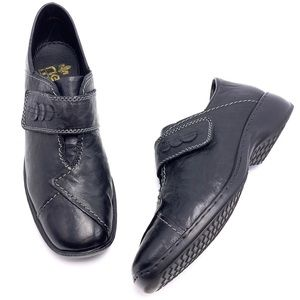 Rieker 41 9.5 Black Leather Monk Strap Loafers